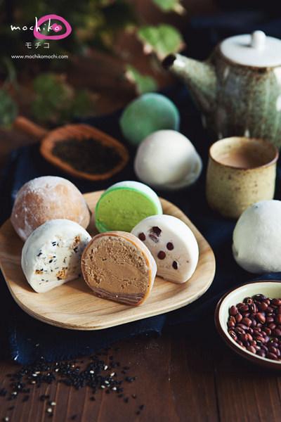 Mochiko Mochi Green Tea + Black Sesame + Azuki + Milk Tea
