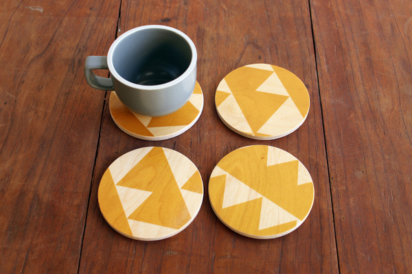 wolfum yellow triangle coasters